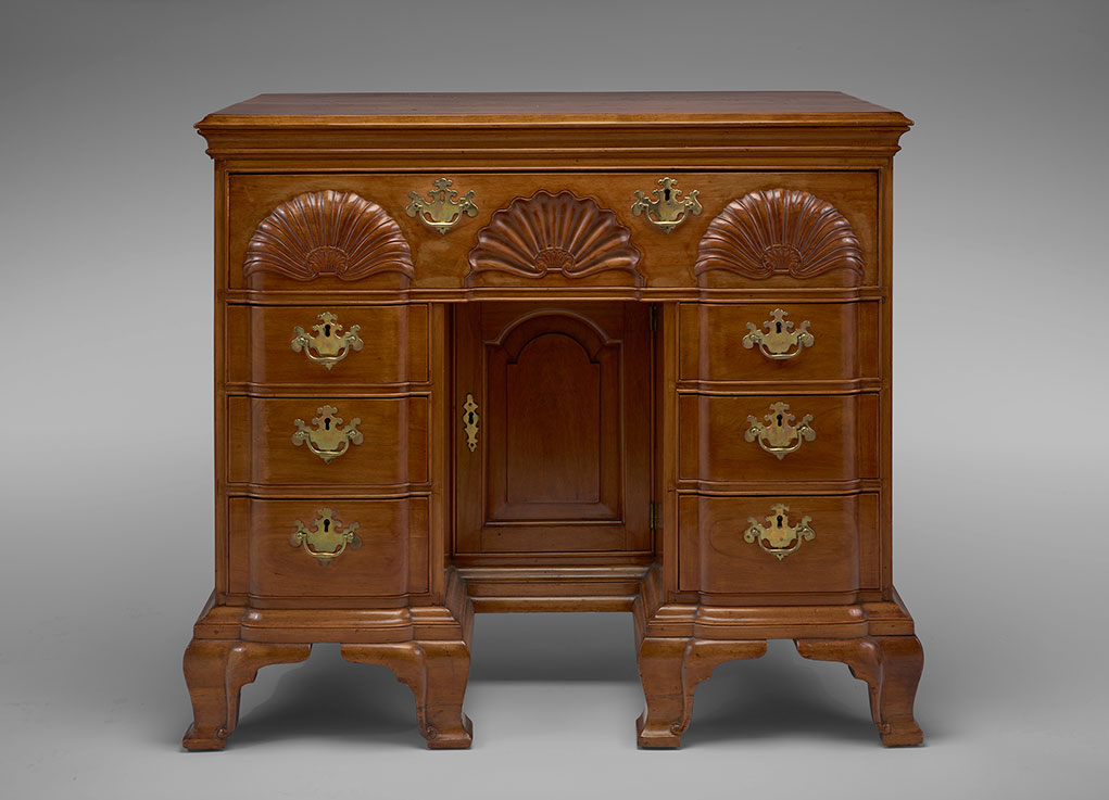 Edmund Townsend, Bureau Table, Newport, 1764. Blond Mahogany (primary);  Yellow Poplar (secondary). Private Collection [RIF685]