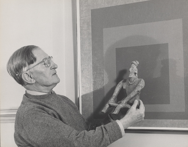 Lee Boltin Untitled Josef Albers Holding West Mexican Figure In Front Of Homage To The Square Auriferous 1958 Gelatin Silver Print And Anni