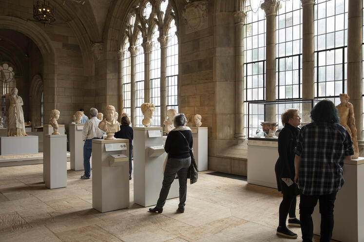 Visitors in the Ancient Art sculpture gallery.