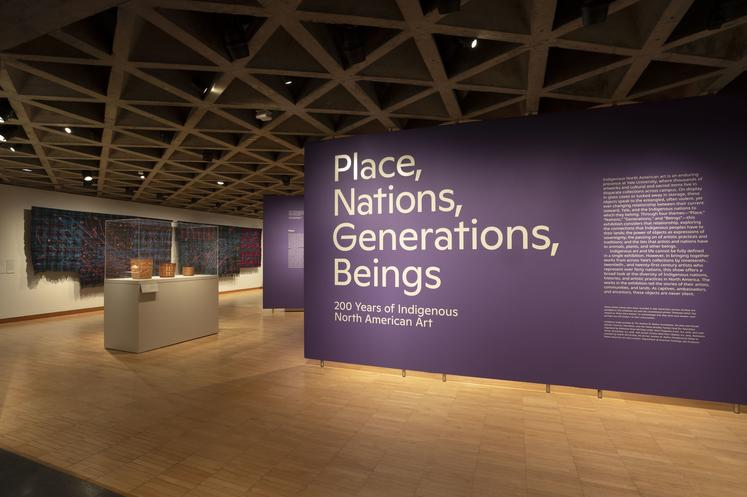 Installation view of Place, Nations, Generations, Beings