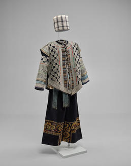 Man's Three-Piece Jacket, Undershirt, Trousers, Belt, and Headscarf, China, mid-20th century