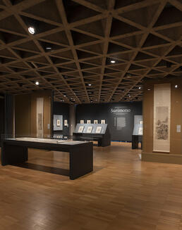 Installation of Chinese paintings and Japanese woodblock prints in the Asian art galleries.