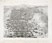 René Caillié, Vue d'une partie de la ville de Tomboctou. The French explorer René Caillié was the first European to reach the city of Timbuktu, in 1828, and return alive. His drawing of Timbuktu and other scenes from his travels were published in 1830.