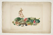 Pancho Fierro, Woman with Fruit and Cabbage on Plaza de Lima, ca. 1850