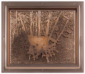 Matthew Barney, Reintroduction: State four, 2018. Electroplated copper plate in copper frame. Courtesy the artist and Gladstone Gallery, New York and Brussels. © Matthew Barney, courtesy Gladstone Gallery, New York and Brussels