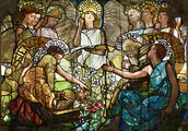 Louis Comfort Tiffany, designer, and Tiffany Glass Company, manufacturer, Education, Mary Hartwell Lusk Memorial Window (detail), New York, designed 1888, dedicated 1889. Leaded opalescent, sheet, and crown glass. Yale University, Linsly-Chittenden Hall