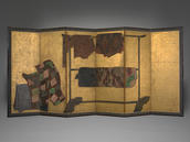 Workshop of Tawaraya Sōtatsu, Whose Sleeves? (Tagasode), Edo period, early 17th century. Ink and mineral pigment on gold foiled paper. Lent by the Collection of Peggy and Richard M. Danziger, LL.B. 1963