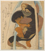 Totoya Hokkei, Kintarō Struggling with the Giant Carp (Kintarō to Koi), probably 1820 (Year of the Dragon). Polychrome woodblock print with gold and silver pigment and gauffrage. Yale University Art Gallery, Promised gift of Virginia Shawan Drosten and Patrick Kenadjian, B.A. 1970