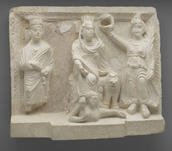 Cult Relief of the Gad (Fortune) of Palmyra, from the Temple of the Gadde, A.D. 159. Palmyrene limestone. Yale University Art Gallery, Yale-French Excavations at Dura-Europos
