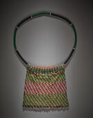 Bag (Ingxowa), probably South Sotho, Drakensberg region, South Africa, 19th century. Beads, cloth, string, and metal. Yale University Art Gallery, Leonard C. Hanna, Jr., Class of 1913, Fund