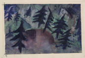 Kate Steinitz, The Pine Trees, 1921–22. Gouache, watercolor, crayon, and pencil laid on paper. Yale University Art Gallery, Gift of Collection Société Anonyme