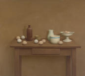 William Bailey, Still Life—Table with Ochre Wall, 1972