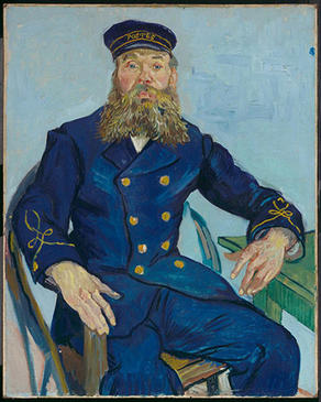 Vincent Van Gogh, Postman Joseph Roulin, July–August 1888. Oil on canvas. Museum of Fine Arts, Boston, Gift of Robert Treat Paine, 2nd