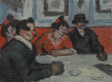 Pablo Picasso, Café Scene, 1900. Oil on panel. Yale University Art Gallery, Transfer from the Beinecke Rare Book and Manuscript Library, Gift of Alice B. Toklas to the Gertrude Stein and Alice B. Toklas Papers, Yale Collection of American Literature