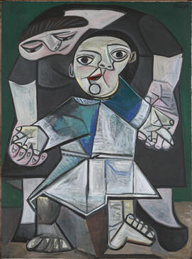 Pablo Picasso, First Steps, 1943. Oil on canvas. Yale University Art Gallery, Gift of Stephen Carlton Clark, B.A. 1903. © 2021 Estate of Pablo Picasso / Artists Rights Society (ARS), New York