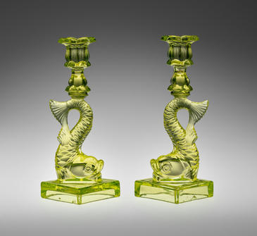Boston and Sandwich Glass Works, Pair of Candlesticks, Sandwich, Mass., 1845–65