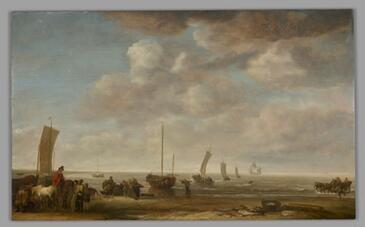 A painting of fishermen and other figures on a beach, with several ships in the background. A huge, cloudy sky occupies about three-quarters of the composition.